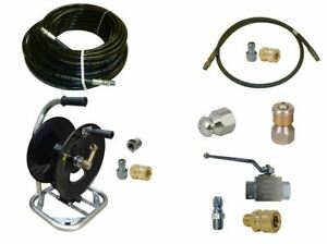 Sewer Jetter Cleaner Kit Ball Valve 150 X 1 4 Hose Reel And Nozzles