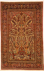 Navy 4 X 7 Isfahan Rug Hand Knotted Persian Rug