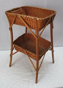 Vintage Hand Woven Two Tier Indian Basket Side Table American Indian Souvenir