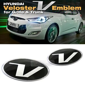 Carbon Emblem Front Grille Rear Trunk For Hyundai 2011 2017 Veloster Turbo