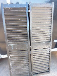 Pair Antique Victorian Louvered House Window Shutters Black 57 75 High