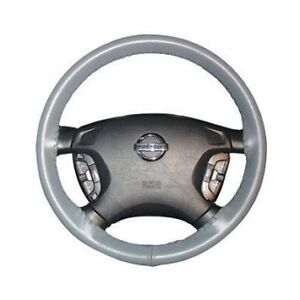 Grey Leather Steering Wheel Cover For Wheelskins Genuine Cowhide Leather Size C