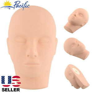 Soft Rubber Training Practice Mannequin Head Makeup Massage Free 3 Eyelashes