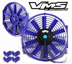 Universal 10 Blue Electric Radiator Slim Fan With Installation Kit