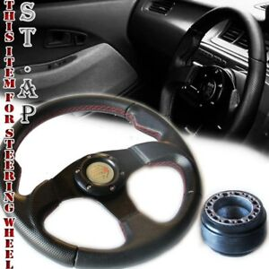 94 04 Ford Mustang 320mm Pvc Leather Steering Wheel Black Red Stitch Hub Adapter