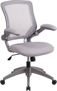 Mid back Gray Mesh Task Chair With Flip up Arms Office Chair