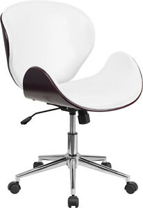 Mid back Mahogany Wood Swivel Conference Chair In White Leather Office Chair