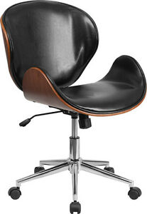 Mid back Walnut Wood Swivel Conference Chair In Black Leather Office Chair