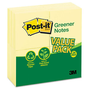 Original Recycled Note Pads 100 3 X 3 Sheets Canary Yellow 24 Pads pack