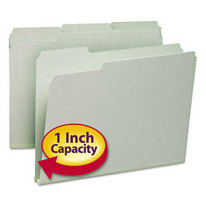 Recycled Folder One Inch Expansion 1 3 Top Tab Letter Gray Green 25 box