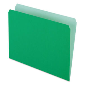 Colored File Folders Straight Cut Top Tab Letter Green light Green 100 box