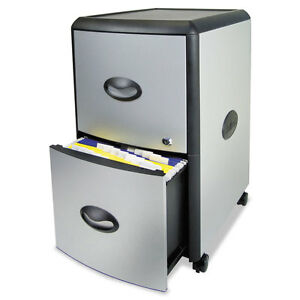 Two drawer Mobile Filing Cabinet Metal Siding 19w X 15d X 23h Silver black