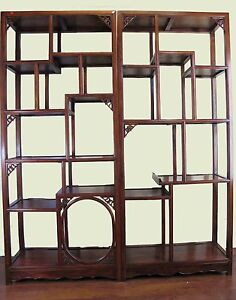 A Pair Of Chinese Rose Wood Bookcase Display Shelf Tall Cabinet Furniture