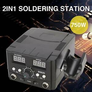 2in1 8582 Smd Soldering Iron Hot Air Rework Station Led Display W 4 Nozzle 110v