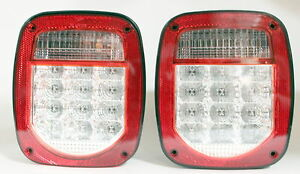 Red Truck Trailer Boat Jeep Tj Cj Yj Jk Stop Turn Tail Led Lights Stud Mount