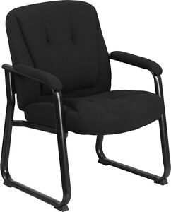 Heavy Duty Big Tall Black Fabric Executive Office Side Chair With Sled Base