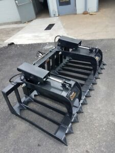 New 72inch Hd Skid Steer Grapple rock Bucket rake bobcat kubota cat etc