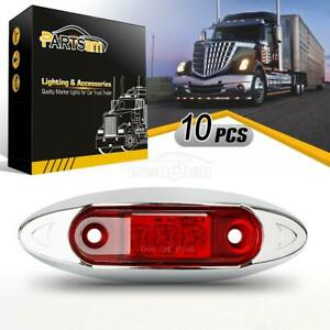 10x New Led Fish Shape Clearance Side Marker Car Truck Trailer Light Red