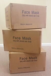 2 000 Masks 1 Case Surgical Disposable 3 ply Earloop Face Masks Latex Free