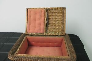 Antique Sewing Basket Woven Cushion Inside Case Box