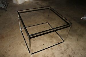 Mid Century Chrome Glass Square Coffee Table