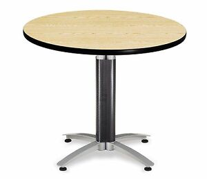 36 Round Restaurant Table With Oak Laminated Top Table Height Cafe Table