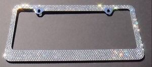 2 Pcs Bling White Color Crystal Metal License Plate Frame With Chrome Screw Cap