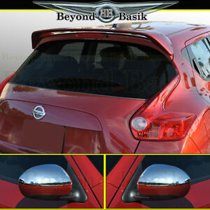 For Nissan Juke Factory Style Spoiler Top Half Chrome Mirror Covers Overlays