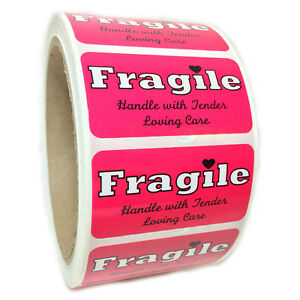 Pink fragile Handle With Tender Loving Care Labels Stickers 1 By 2 500 Ct