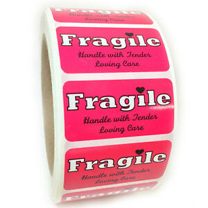 Pink fragile Handle With Tender Loving Care Labels Stickers 1 By 2 1000 Ct