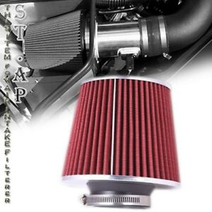 Universal 4 Inch Jdm Short Ram Turbo Cold Air Flow Intake Filter Red Chrome