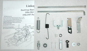 1956 61 Linkage Kit Carter Wcfb Dual Quads Corvette Chevy New W Springs Brkts