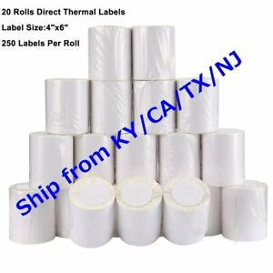 20 Roll 4x6 Direct Thermal Labels 250 roll For Zebra 2844 Eltron Zp450 Free Ship