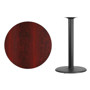 36 Round Mahogany Laminate Table Top With Base Bar Height Restaurant Table