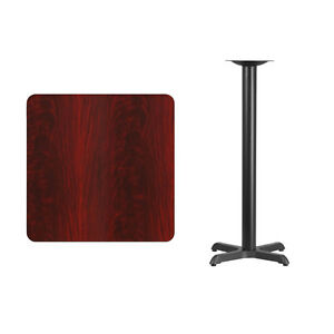 30 Square Mahogany Laminate Table Top With Base Bar Height Restaurant Table
