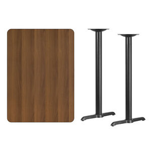 30 X 42 Walnut Laminate Table Top With Base Bar Height Restaurant Table