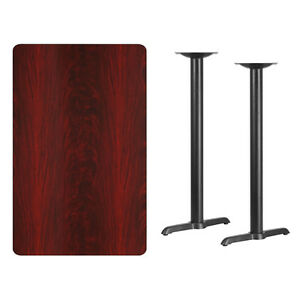 30 X 48 Mahogany Laminate Table Top With Base Bar Height Restaurant Table
