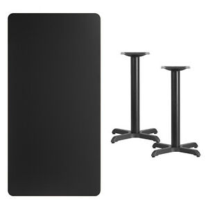 30 X 60 Black Laminate Table Top With Base Table Height Restaurant Table