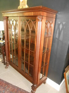 Victorian Gothic Arches 19th Century Antique Mahogany Bookcase China Cabinet