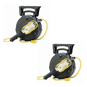 Case Of 2 Pro Garage Retractable Cord Reel Trouble Repair Work Lights 8050m W