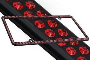 Swarovski Red Crystal Bling License Plate Frame Inlay Black Frame Screw Caps
