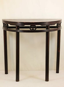 A Chinese Antique Dark Color Hardwood Half Table Semi Circle Tall Long Legs