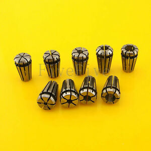 9pcs Er8 Spring Collet Chuck Tool Set Precision Cnc 1 1 5 2 2 5 3 3 5 4 4 5 5mm