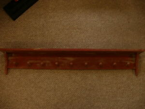 Red Weathered Look 9 Peg Shelf Primitive Rustic Wood