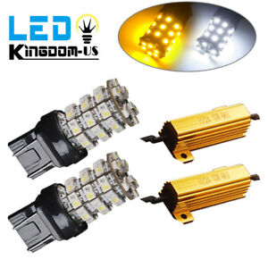 2x 7443 7440 Switchback White Amber 60smd Led Turn Signal Light Bulbs Resistors