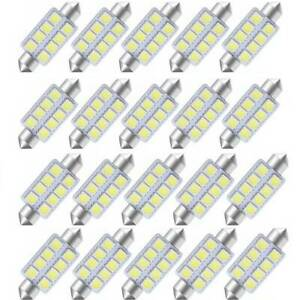 20pcs 7000k White 42mm 578 8smd Festoon Led Bulbs Map Dome Interior Lights 211 2