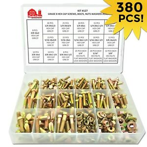 Grade 8 Hex Bolts Cap Screws Nuts Washers Assortment Kit 380 Pieces