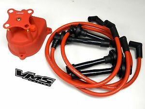 Distributor Cap Spark Plug Wire Kit For 94 01 Acura Integra B18 Dc Red