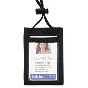 Id Badge Holder W convention Neck Pouch Vertical 2 1 4 X 3 1 2 Black 12 pack