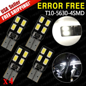4x T10 5630 Led High Power Canbus Error Free Dome License Interior Light Bulbs